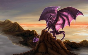 Картинка Dragon, wings, rocks