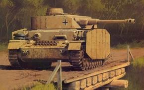 Картинка рисунок, немцы, вермахт, панцер 4, средний танк, Wrobel, PzKfw 4 Ausf H
