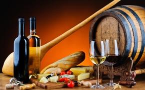 Картинка вино, красное, белое, сыр, бокалы, хлеб, бутылки, помидоры, багет, бочонок, батон