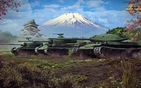 Картинка природа, гора, Япония, сакура, трио, японцы, мир в танках, Type 61, STB-1, STA-1, путь самурая, …