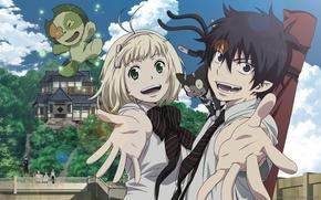 Обои галстук, anime, синий экзорцист, ободок, Ao no Exorcist, Rin Okumura, Nii-chan, Нии-чан, Аниме, Shiemi, Сиэми, ...