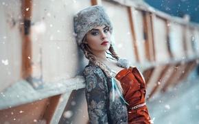Картинка снег, шапка, макияж, косы, Alessandro Di Cicco, Cold Moscow