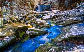 Картинка осень, снег, деревья, ручей, камни, водопад