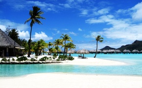 Обои море, пляж, пальмы, курорт, бора бора