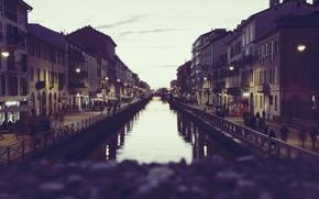 Картинка river, Italy, sunset, street, people, houses, Milan, Milano, canal, Navigli