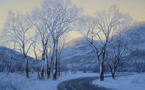 Картинка зима, дорога, car, машина, снег, пейзаж, горы, вечер, живопись, road, trees, art, winter, snow, evening, ...