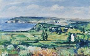 Картинка море, пейзаж, дом, картина, долина, Анри Лебаск, Finistere, The Plain of Crozon