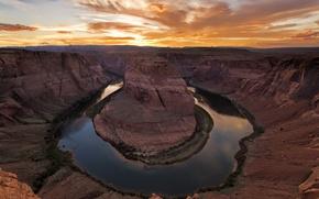 Картинка природа, рассвет, каньон, река Колорадо, Подкова, Horseshoe Bend, река Подкова