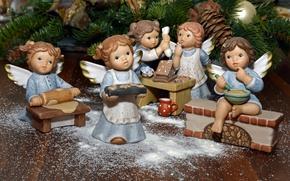 Картинка дети, игрушки, новый год, рождество, ангелы, печенье, сюжет, кухня, хвоя, шишки, фигурки, ангелочки, стряпня
