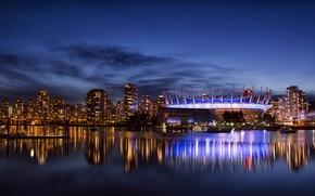 Картинка Vancouver, небоскребы, отражение, освещение, залив, город, стадион, ночь, здания, Канада, облака, Британская Колумбия, подсветка, дома, ...