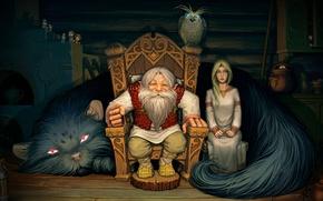 Обои фольклор, домовые, изьба, лесовик, внучка, сова, кот, сказка
