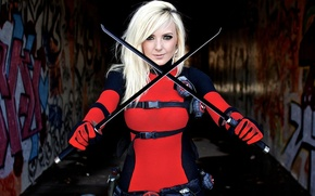 Обои swords, блондинка, косплей, мечи, blonde, Deadpool, Jessica Nigri, Cosplay