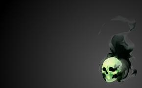 Обои Soft, Light, Dirk, Мрачность, Minimalism, Skull, Черный, Свечение, Арт, Плавный, Зеленый, Дым, Фантастика, Gray, Smoke, ...