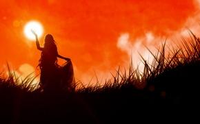 Обои Закат, трава, девушка