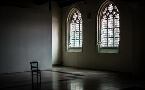Обои окно, стул, зал