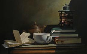 Картинка стол, стена, чай, книги, кружка, тени, натюрморт, страницы