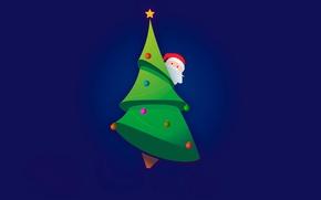 Обои минимализм, дед мороз, вектор, new year, елка, новый год, санта клаус, шары