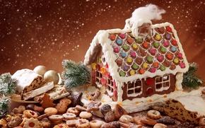 Картинка зима, праздник, волшебство, печенье, Рождество, сладости, домик, снегопад, выпечка, бисквит, snowflakes, xmas, season, glazed holiday, …