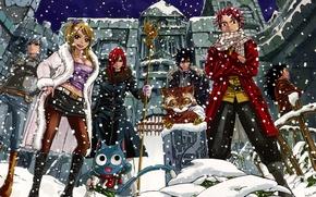 Картинка снег, девушки, аниме, арт, парни, Fairy Tail, Сказка о хвосте феи, Erza Scarlet, Juvia Loxar, …