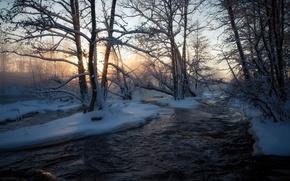 Обои река, зима, природа