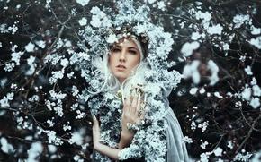 Картинка цветы, венок, Bella Kotak, девушка, настроение, цветение, Kerry-Ann, ветки, весна