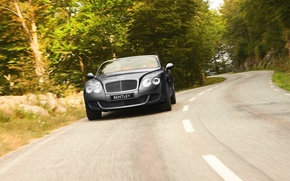 Картинка Bentley, Continental, Дорога, Машина, Серый, Бентли, GTC, Передок