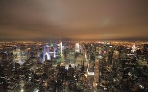 Картинка lights, USA, skyline, night, New York, Manhattan, Empire State Building, skyscrapers, America, United States of …