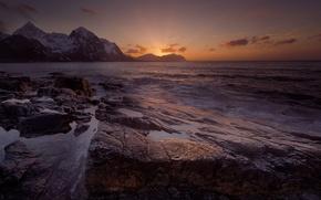 Картинка море, закат, горы, Норвегия
