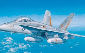 Картинка airplane, painting, aviation, jet, Boeing F/A-18E/F Super Hornet