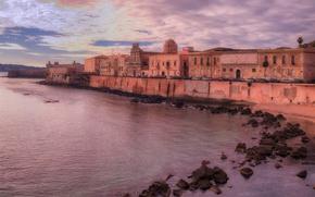 Картинка камни, Сиракуза, вечер, Ортиджия, берег, остров, Италия, Сицилия