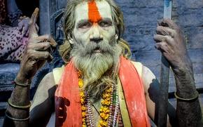 Картинка man, guy, Asia, jewels, India, beard, hindu, powder dye