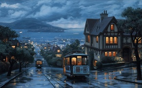 Картинка небо, деревья, горы, тучи, city, город, улица, вид, дома, корабли, вечер, холм, порт, фонарь, лужи, ...