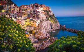 Картинка пейзаж, город, камни, скалы, берег, здания, дома, Италия, Лигурийское море, Manarola, Parco nazionale delle Cinque …