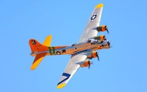 Обои Боинг, самолет, цвет, бомбардировщик, полет, Flying Fortress, летающая крепость, небо, B-17