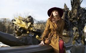 Картинка девушка, улыбка, шляпа, пальто