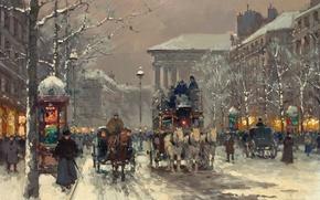 Картинка зима, Париж, winter scene in Paris 1930's, Edouard Cortes