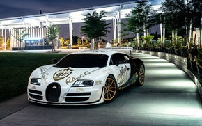 Обои bugatti, veyron, supersport, pur blanc, nyc, new york, front, spoiler