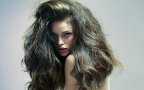 Картинка девушка, лицо, серый, фон, шевелюра, пышные волосы, фотопортрет