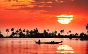 Картинка солнце, закат, отражение, река, берег, лодка, человек, Индия