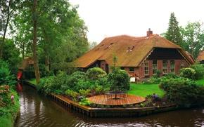 Обои цветы, сад, газон, деревья, кусты, Giethoorn, Нидерланды, канал, дом, водный, дизайн