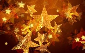 Обои золото, праздник, звезды