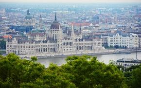 Картинка панорама, архитектура, panorama, architecture, Венгрия, Будапешт, Дунай, Budapest, здание парламента, Danube, Hungarian Parliament
