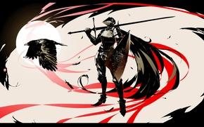 Обои тьма, меч, воин, шлем, щит, рыцарь, ворон, доспех, dark souls