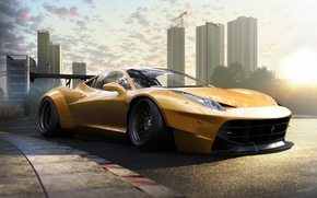 Картинка Ferrari, 458, Front, Yellow, Tuning, Italia, Supercar, Wheels, Track, Spoiler, DRAG