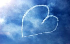 Обои рисунок, небо, самолёты, сердце