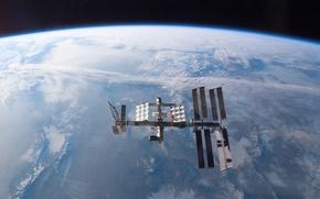 Обои орбита, земля, станция, планета
