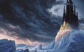 Обои утес, горы, снег, Зима, облака, замок