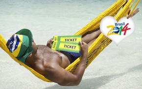 Картинка logo, man, football, flag, World Cup, Brasil, FIFA, hammock, 2014, tickets