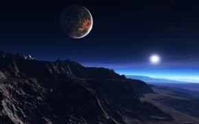 Картинка холод, облака, горы, восход, скалы, рассвет, звезда, спутник, утро, атмосфера, мгла, экзопланета, белый карлик, мёртвое