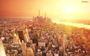 Обои солнце, город, здания, дома, америка, нью-йорк, сша, небоскрёбы, new york, usa